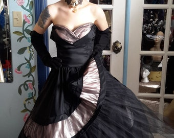 party lines by Emma domb vintage 1950 black and pink tulle and satin dress free shipping!