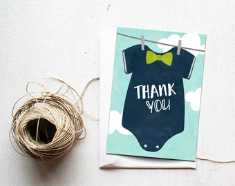 Bowtie Baby Shower Thank You Card Printable Instant Download, Little Man Thank You note, DIY thanks Navy and Mint, Oh Boy Bow Tie