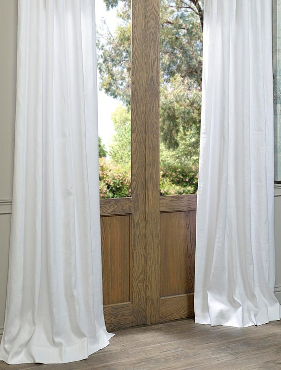 2 All White Linen Curtains With Shower By EarthyVintageBoutiqu