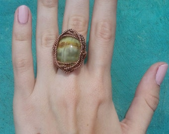 Ring of copper with onyx, handmade