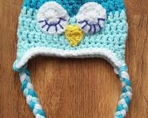 Newborn Baby Crochet Owl Hat - Photo Prop - Baby Boy Hat - Baby Girl Hat - Baby Shower Gift - Blue Owl Hat - Crochet Baby Hat
