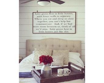 Love grows best in little houses Framed wood sign