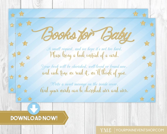 Blue & Gold Twinkle Twinkle Little Star Book Request Card • Baby Shower Book Request Card Printable Instant Download • BS-T-01