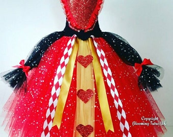 Queen of Hearts Inspired Super Sparkly Tutu Dress-Birthday, Party, Pageant, Fancy Dress, Alice in Wonderland, Villain