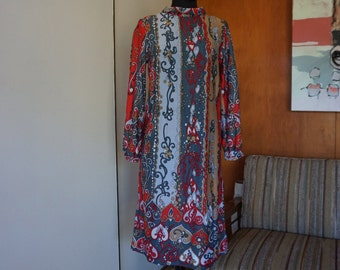 Women's 70's Mod Long Sleeve Shift Dress Handmade Gray Red and Tan