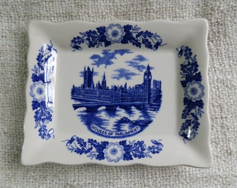 Vintage 1960's J H Weatherby Rectangular Plate / Shallow Dish, Houses of Parliament