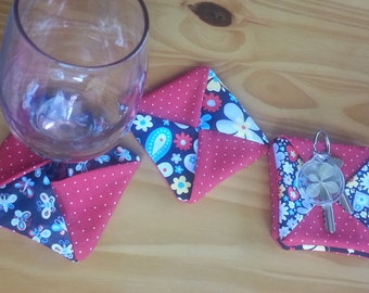 Four Wine Coasters - red, black, white, butterfly fabric, polka dots, fun home decor, OOAK gift