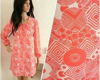 Vintage 60s 70s Red Geo Psych Circle Shift Tunic Mini Dress Mod / UK 10 12 / EU 38 40 / US 6 8