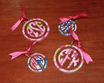 Lilly Pulitzer Inspired Monogram Keychain - Monogram Keychain - Lilly Pulitzer Inspired - Birthday Present