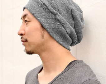 Cotton Baggy Ribbed Beanie with Slouch. Fits Adult Men and Women Unisex Stretchy DESIGNED In JAPAN Street Fashion Casual Soft Summer bw-4da