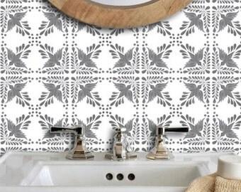 Mexican Flora Wallpaper Removable Vinyl Wallpaper in Grey - Peel & Stick - No Glue, No Mess