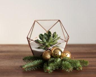 Geometric Glass Terrarium Container, Halloween Decor, Succulent Terrarium, Wedding Decor, Fairy Garden, Candle Holder, Copper Planter