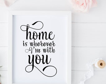 mothers day gift printable quote wall art print modern wall art Home is wherever im with you, home decor wall art quote print home