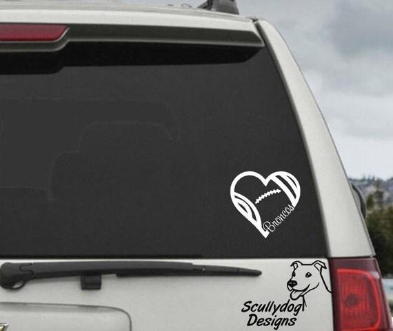 Denver Broncos Football Heart Decal - Car Window Decal Sticker