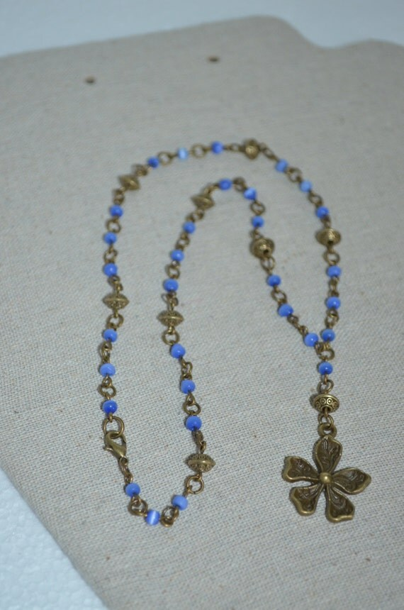 Necklace Flower & Blue Glass Bead, Lariat Necklace with Blue Beads, Flower Y Necklace, Bronze Flower Necklace, Glass Bead Bronze Necklace