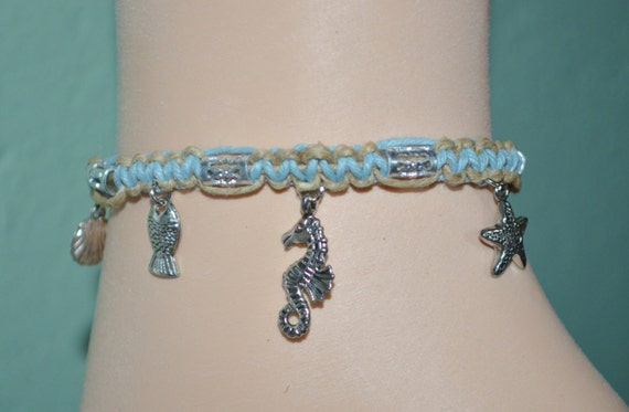 Ankle Bracelet Hemp & Sea Creatures, Hemp Anklet, Hemp Anklet with Ocean Life Charms