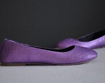 Wedding flats Violet bridal shoes purple Glitter wedding shoes Wedding shoes white Low heels flats purple ballerina shoes SIZE 7.5