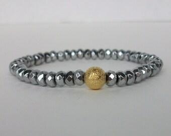 Hematite Beaded Bracelet/Silver Hematite Beaded Bracelet/Beaded Gemstone Stretch Bracelet/Hematite Stacking Bracelet/Gemstone Stack/B0208