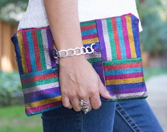Colorful clutch, Zippered Clutch, Party clutch, Evening bag, Hand Strap clutch