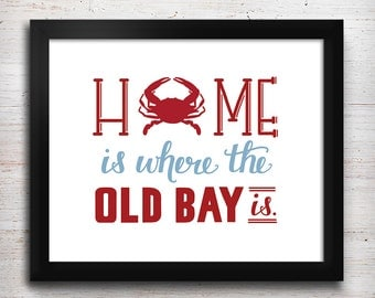 "Crab Home Print - Hand-lettered 5"" x 7"" Print - Maryland"