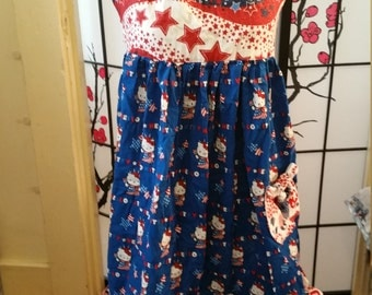 Hello Kitty Patriotic Apron with Apple Print Pocket and Ties