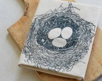 Bird Nest Tea Towel - Easter Nest - Kitchen Towel - Cotton Dish Towel - Tea Towels - Flour Sack Towels - Cotton Dishcloth - Housewarming