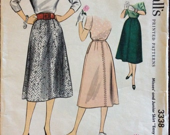 McCalls 3338 - 1950s Three Piece Midi Skirt - Waist 24 OR Waist 25