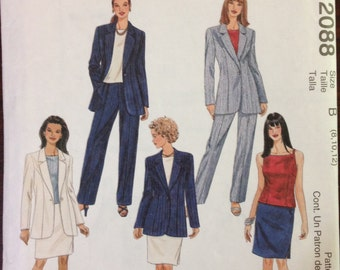 McCalls 2088 - Notched Collar Jacket, Top, Skirt, and Pants Suit Set - Size 8 10 12