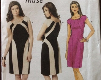 Butterick B5677 - Knee Length Sheath Dress with Contrast Panels, Cap Sleeves and Scoop Neckline 0 Size 12 14 16 18