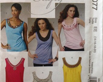 McCalls M6077 - Tank Top with V Neckline or Banded Collar with Scoop Neck - Size 14 16 18 20