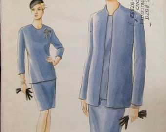 Vogue 9328 - Very Easy Work Wardrobe Jacket Top and Skirt - Size 8 10 12