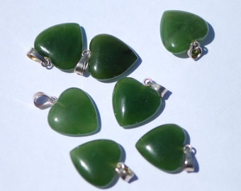 One Piece, Nephrite Jade Heart Pendant, Sterling Silver Bail, 15 x 15 mm, J0477