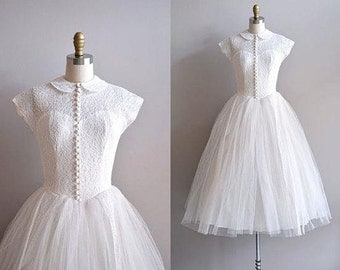 SALE! - 50s Modest Peter Pan Collar Lace Wedding Dress, Reception Party Dress US - 4 6 8 10 12