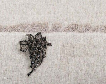 Gun black Brooch rhinestone Brooch Rhinestone Pearl broach Crystal Brooch Component rhinestone pin - Bridal Brooch - MMSK17