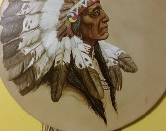 One Of A Kind Cameron Blagg Native American Painting On Leather