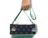 fold over clutch – navy and green – crossbody purse – faux leather