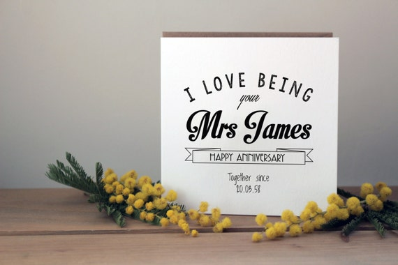 Personalised Wedding Anniversary Gifts Nz : Personalised Anniversary Card Typographic anniversary card Mr or ...
