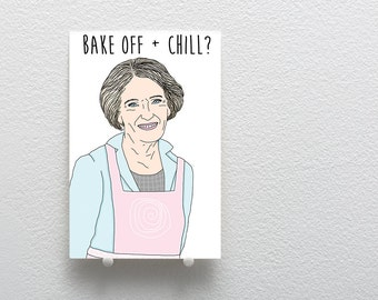 Love Card, Bake Off and Chill Card, Great British Bake Off Mary Berry Funny Love Card, Valentine's Day Card, Netflix and Chill Inspired Card