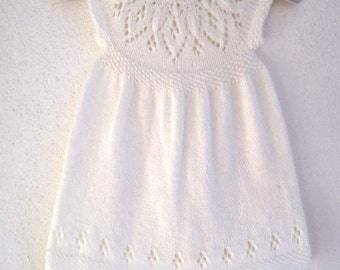 Jasmine Dress - Knitting Pattern - Baby girl to age 6  - Instant Download PDF
