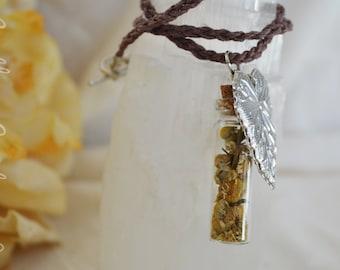 Woodland Faerie Chamomile Herb Bottle Necklace