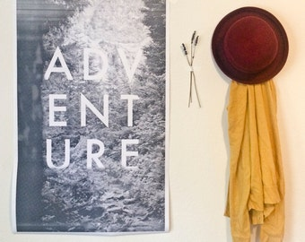 "Graphic Halftone ""Adventure"" Poster   Print"