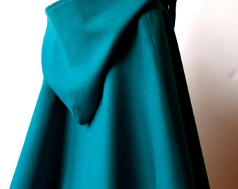 Turquoise wool cape for girl size 6-8
