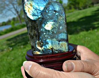 Polished Labradorite With Stand For Display,  Labradorite