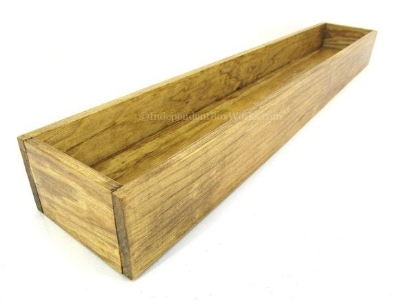 Inch long wooden centerpiece box candle holder mason