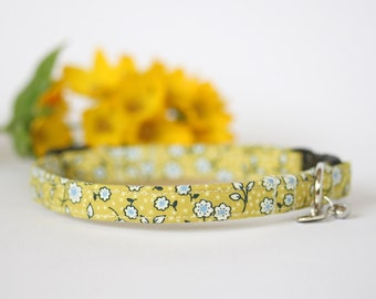 Small Dog or Puppy Collar, Yellow Floral, Handmade, Made To Measure