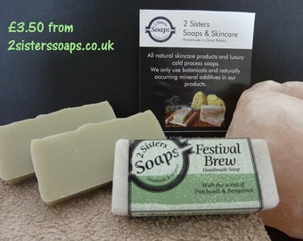 Patchouli & Bergamot Cold Process Handmade Soap with Green Clay