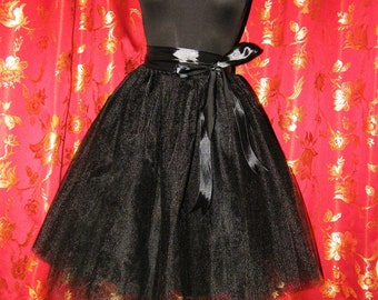 Black tulle skirt tutu for women with a satin ribbon waist