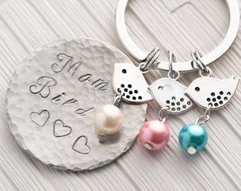 3 baby bird jewelry with mama bird keychain as birthstone mom daughter matching -   mom of twins or also mom of 1,2,3,4,5,6 kids