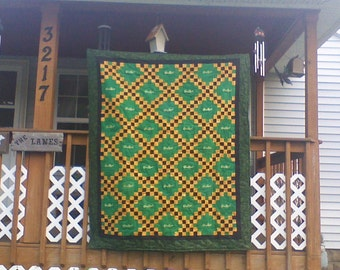 apple green crown royal quilt, couch throw,