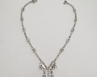 Vintage Necklace Crystal Clear Rhinestone